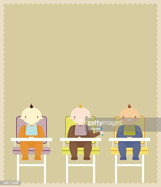 stockillustraties, clipart, cartoons en iconen met baby high chair trio - gekarteld
