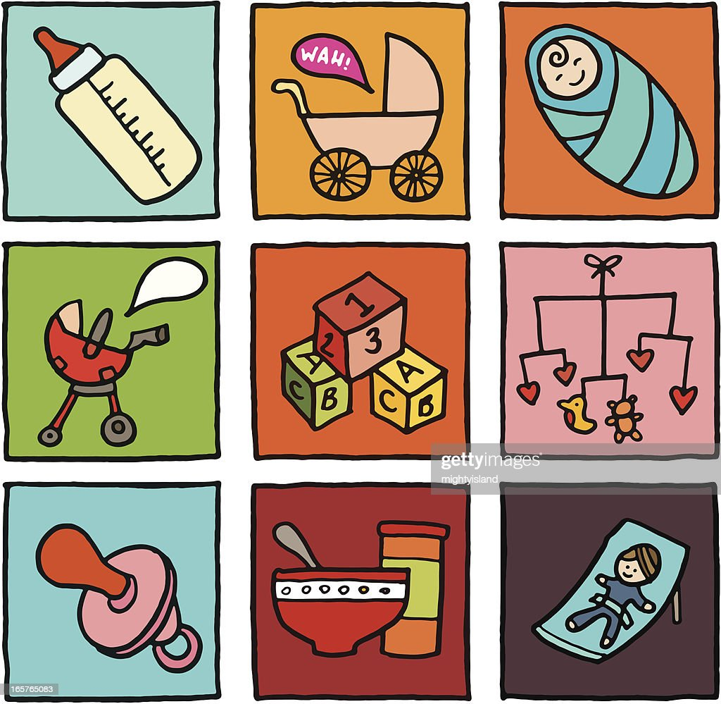 Baby icon blocks : stock illustration