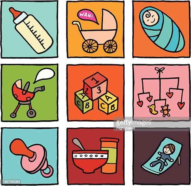 ilustraciones, imágenes clip art, dibujos animados e iconos de stock de icono de bloques de bebé - baby blanket