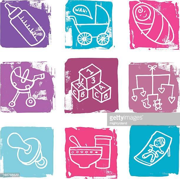 baby icon blocks - blanket stock illustrations, clip art, cartoons, & icons