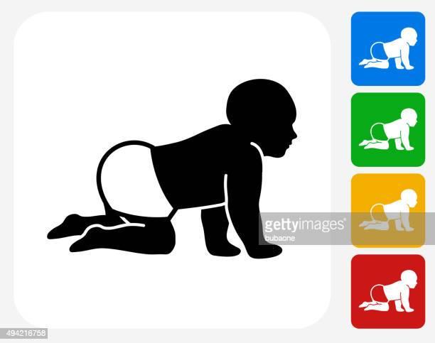 ilustrações, clipart, desenhos animados e ícones de bebê plana ícone de design gráfico - engatinhando