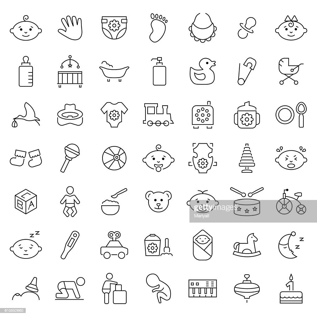 Baby icon set in thin line style. Vector symbols.