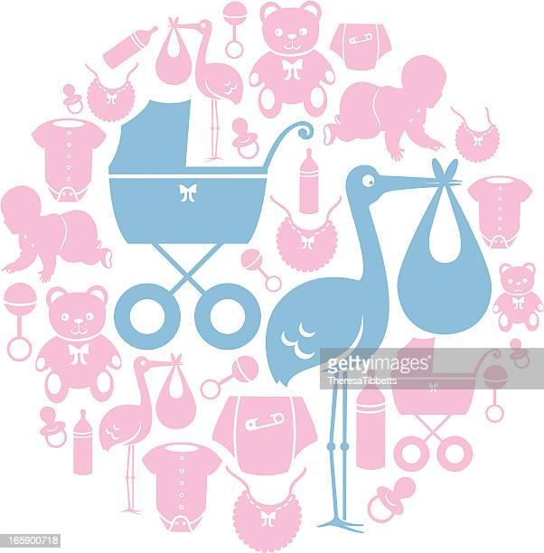 ilustrações, clipart, desenhos animados e ícones de conjunto de ícones de bebê - engatinhando