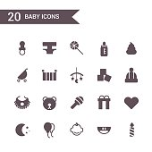 baby icon set vector.Silhouette icons.