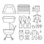 Baby Icons Set, Outline Icons