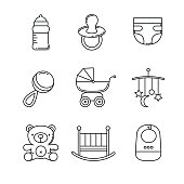 Baby icons thin line art set