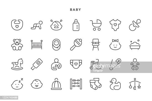 baby icons - baby carriage stock illustrations