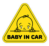 Baby in car sticker. Funny face of boy or girl