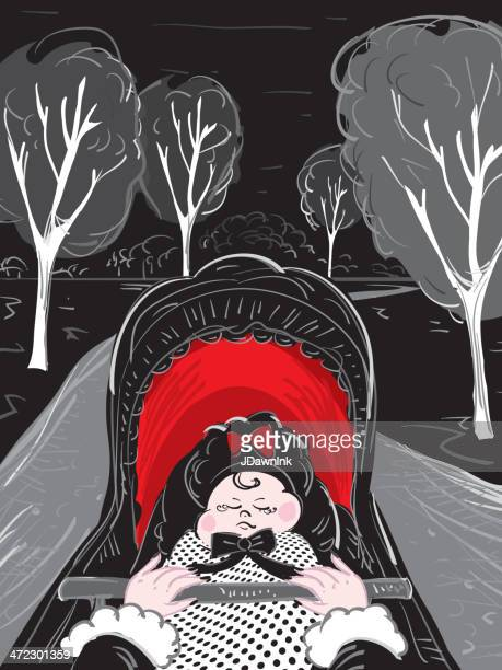 baby in carriage - goth stock illustrations, clip art, cartoons, & icons