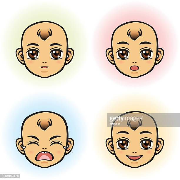 Baby in four Facial Expression (Asian Ethnicity)