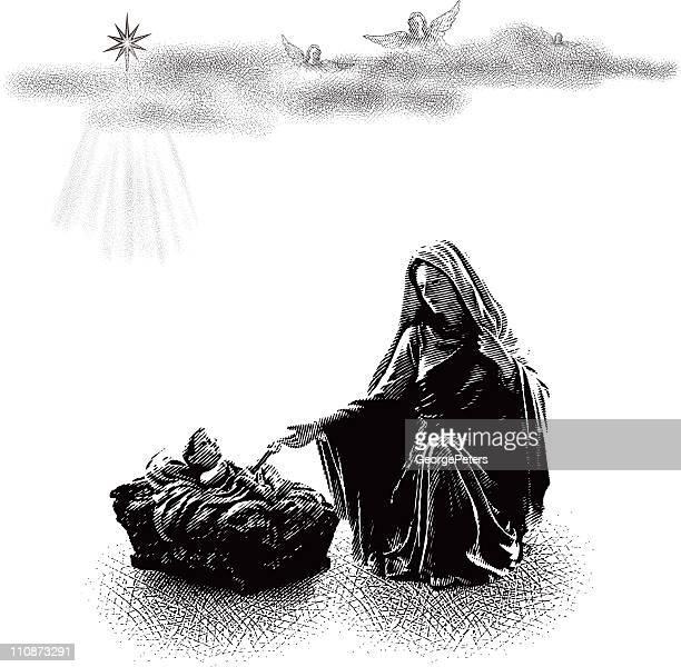 illustrations, cliparts, dessins animés et icônes de bébé jésus et la vierge marie - la vierge marie