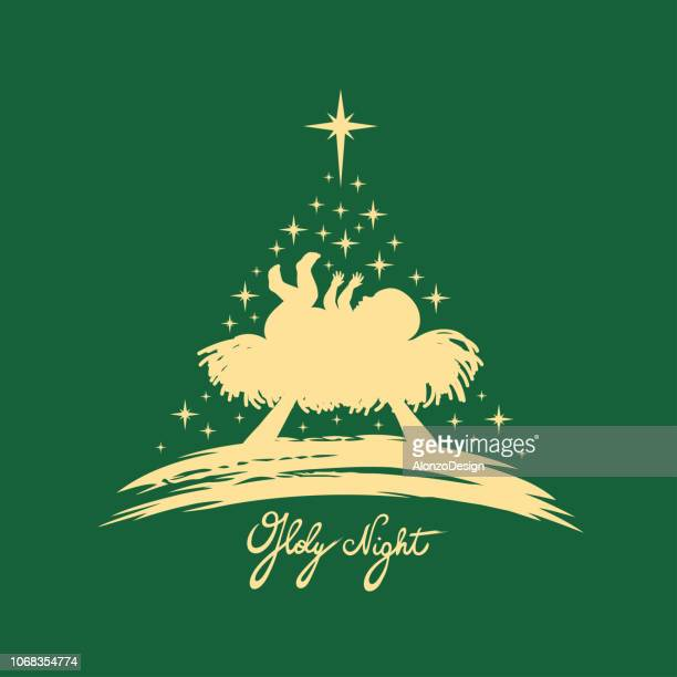 baby jesus. christmas tree - nativity scene stock illustrations
