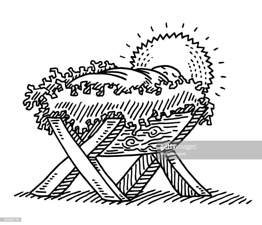 Baby Jesus Wooden Cradle Religion Drawing