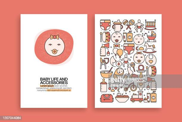 baby life and accessories related design. modern vector templates for brochure, cover, flyer and annual report. - child care stock illustrations