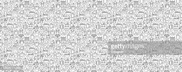 baby life and accessories seamless pattern and background with line icons - child care stock illustrations