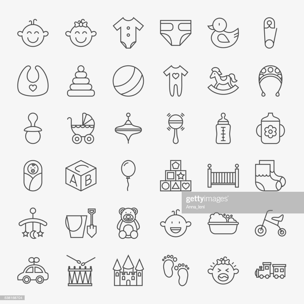 Baby Line Art Design Icons Big Set