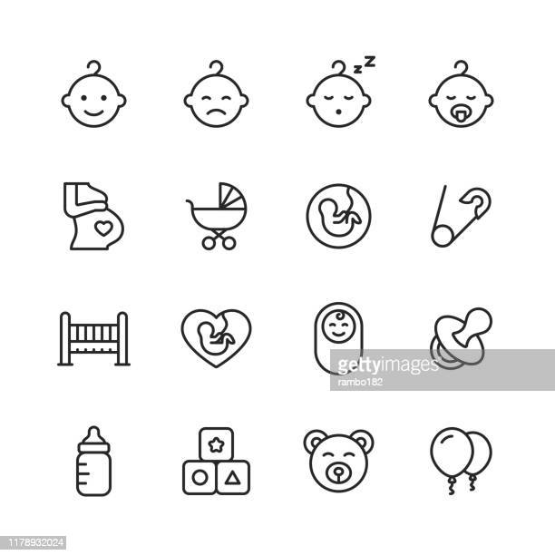 baby line icons. editable stroke. pixel perfect. for mobile and web. contains such icons as baby, stroller, pregnancy, milk, childbirth, teat, parenting. - mother stock illustrations