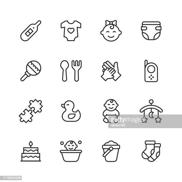 baby line icons. editable stroke. pixel perfect. for mobile and web. contains such icons as baby, stroller, pregnancy, milk, childbirth, teat, parenting. - parent stock illustrations
