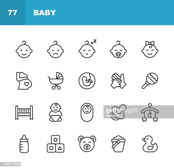 baby line icons. editable stroke. pixel perfect. for mobile and web. contains such icons as baby, stroller, pregnancy, milk, childbirth, teat, parenting, duck toy, bed. - parent stock illustrations