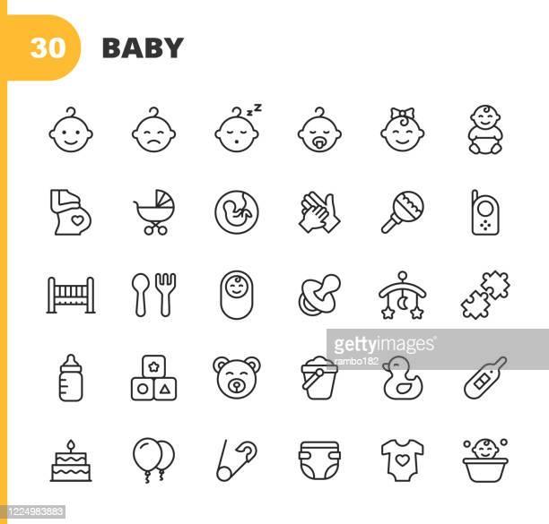 ベビーラインアイコン。編集可能なストローク。ピクセルパーフェクト。モバイルとウェブ用。ベビー、ベビーカー、妊娠、ミルク、出産、乳頭、子育て、アヒルのおもちゃ、ゆりかご、お� - 妊娠点のイラスト素材/クリップアート素材/マンガ素材/アイコン素材