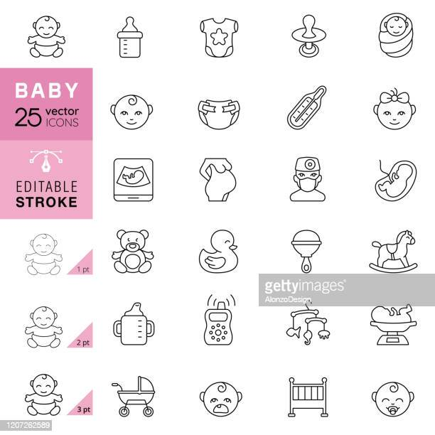 ベビーラインアイコン。編集可能なストローク。 - 赤ちゃん点のイラスト素材/クリップアート素材/マンガ素材/アイコン素材