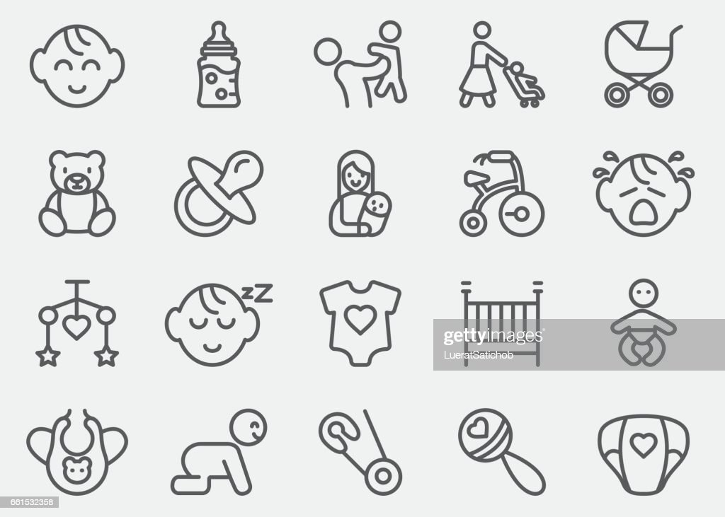 Baby Line Icons | EPS10 : stock illustration