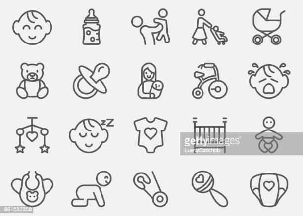 baby line icons | eps10 - childbirth stock illustrations