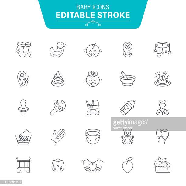 baby line icons - percussion instrument stock illustrations