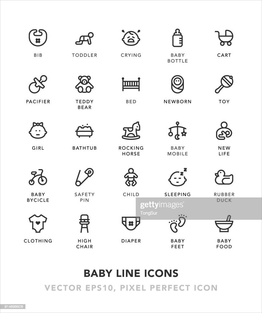 Baby Line Icons : stock illustration