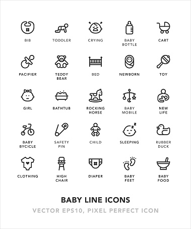 Baby Line Icons - gettyimageskorea