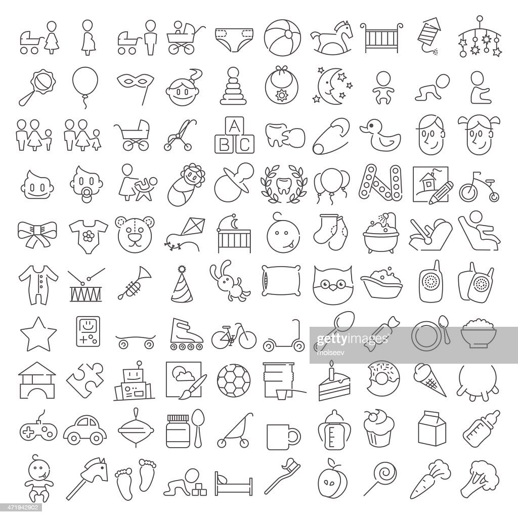 Baby linear icons set