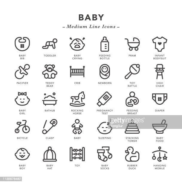 ilustrações, clipart, desenhos animados e ícones de bebê-ícones médios da linha - engatinhando