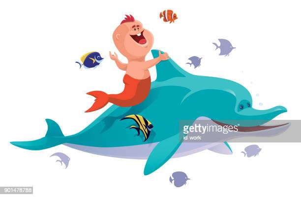 baby mermaid with dolphin and tropical fishes - butterflyfish stock illustrations, clip art, cartoons, & icons