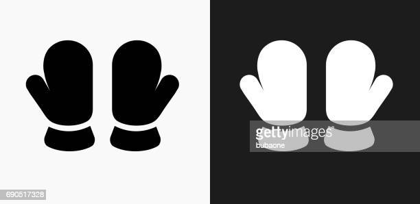 Baby Mittens Icon on Black and White Vector Backgrounds