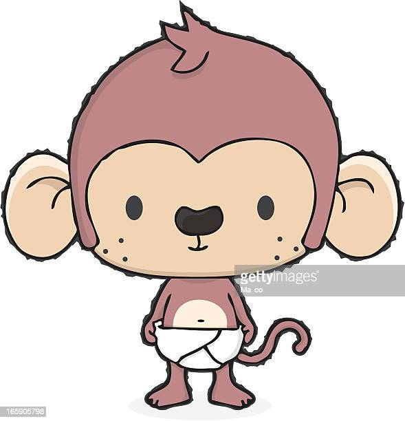 baby monkey with diaper / cartoon