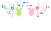 Baby newborn hanging baby boy baby and baby girl symbols