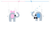 Baby newborn hanging baby boy baby girl symbols with cute pink blue elephants