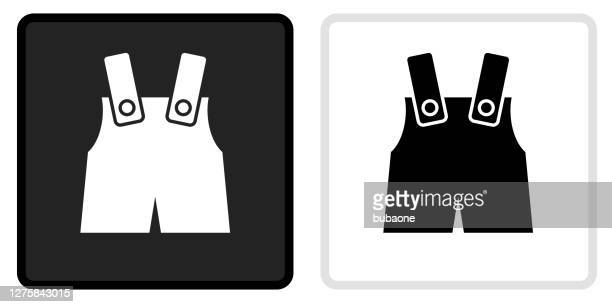 baby overalls icon on  black button with white rollover - dungarees stock illustrations