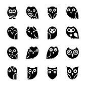 Baby Owl Glyph icons