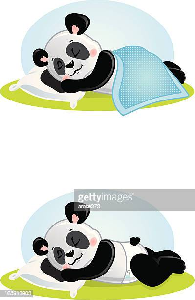 baby panda sleeping boy - blanket stock illustrations, clip art, cartoons, & icons