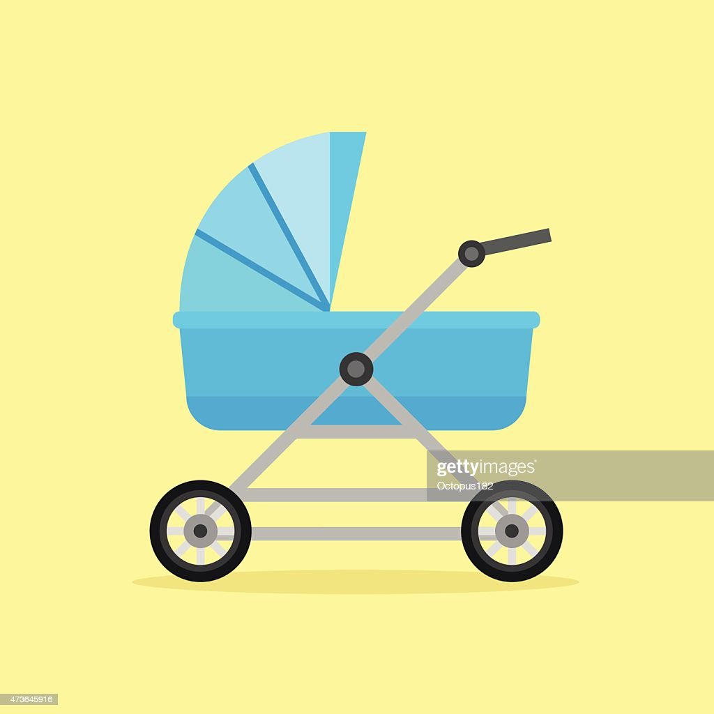 Baby perambulator vector icon