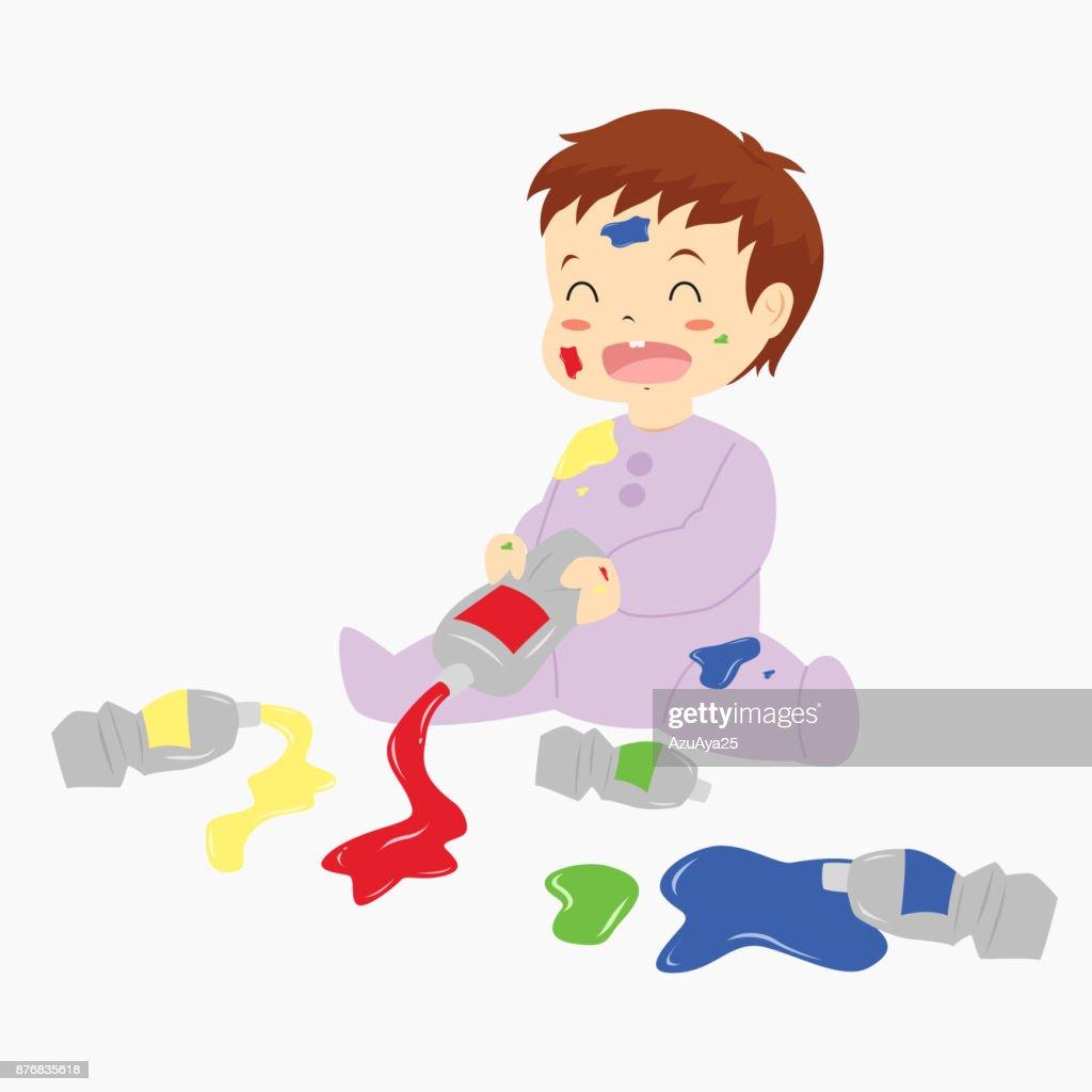 Baby Spielt Mit Paint Einfügen Cartoon Vector Vektorgrafik Getty