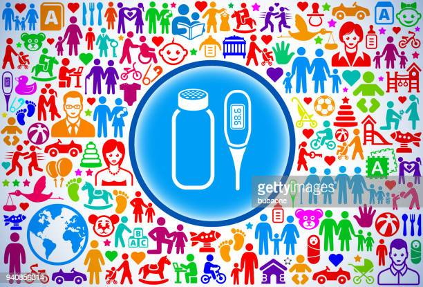Baby Powder and Thermometer Family and Parenthood Vector Icon Pattern