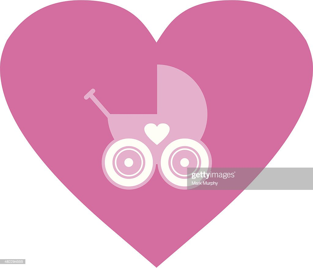 Royalty-Free Vector Clip Art Illustration of a Pink Baby Carriage Pram With  A Heart by Pams Clipart #1056069