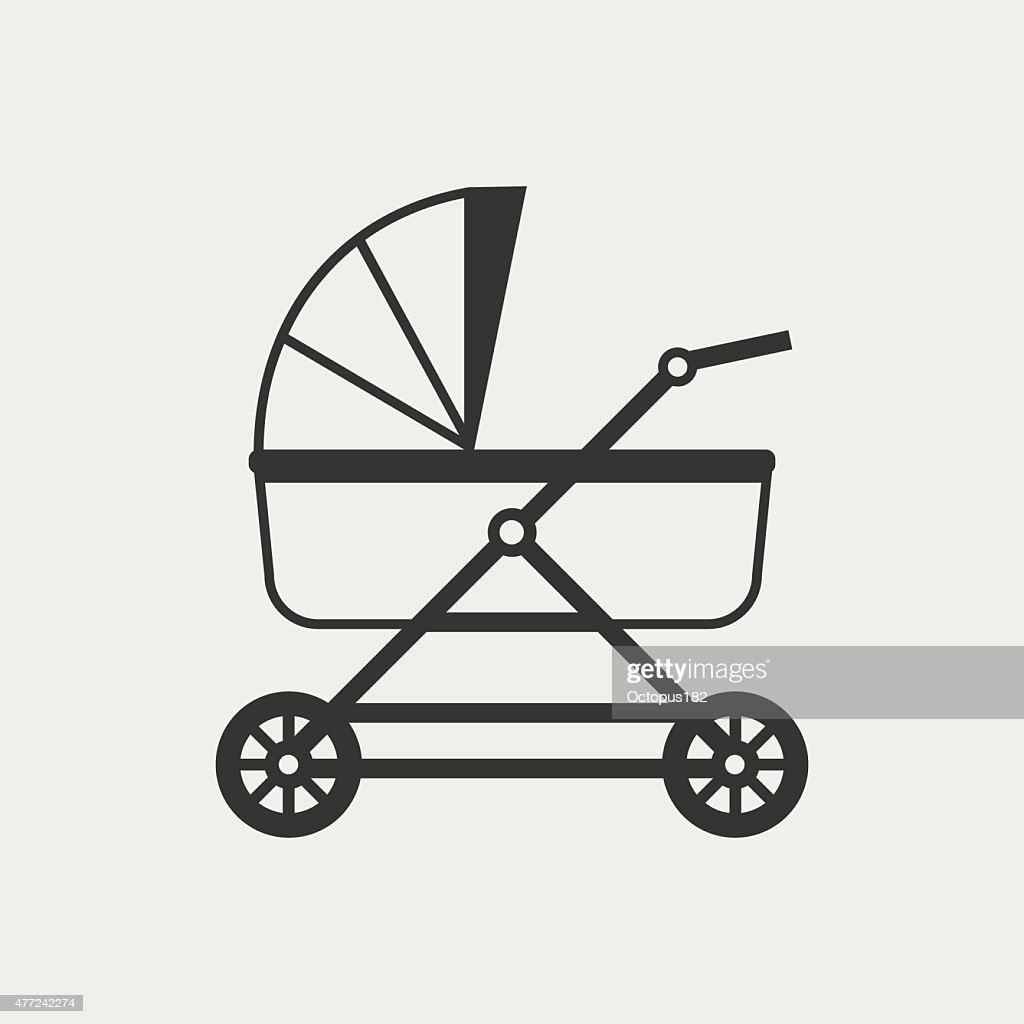 Baby pram monochrome icon