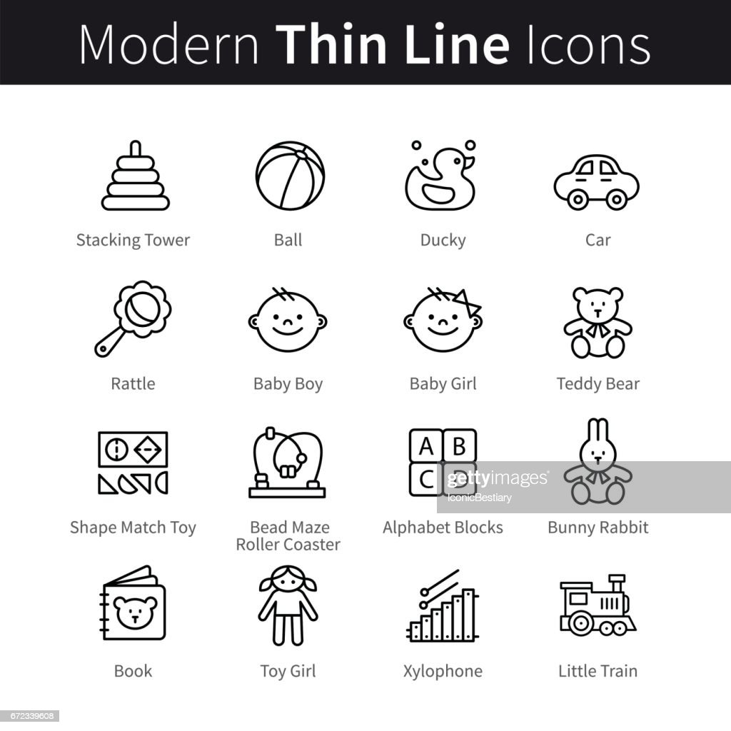 Baby products and games thin line art icons