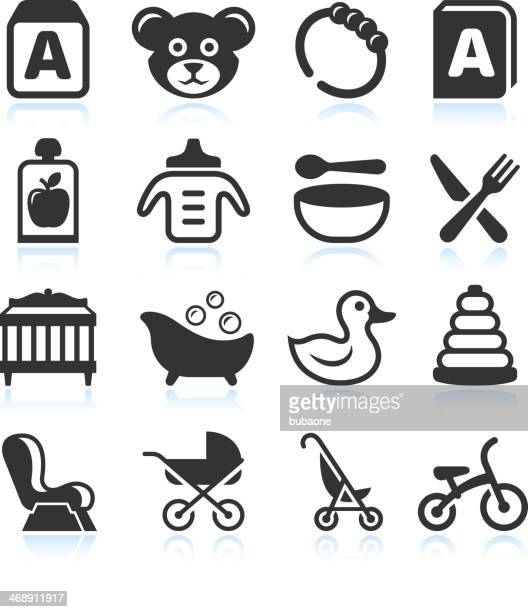 baby products black & white royalty free vector icon set - duck stock illustrations, clip art, cartoons, & icons