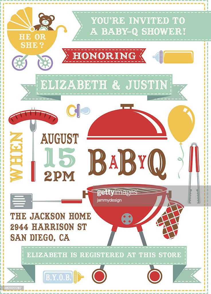 Baby q shower invitation vector art getty images baby q shower invitation vector art stopboris Image collections