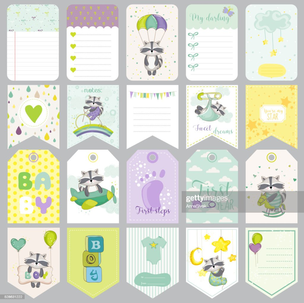 Baby Raccoon Tags Baby Banners Scrapbook Labels Cute Cards Vector