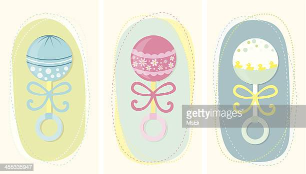 baby rattles set - toy rattle stock illustrations